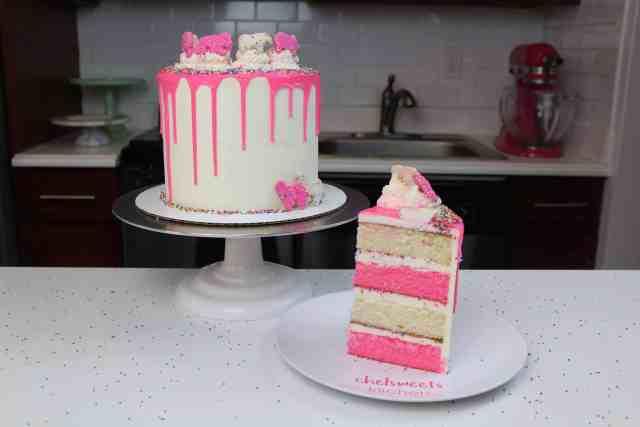 circus animal cake sliced