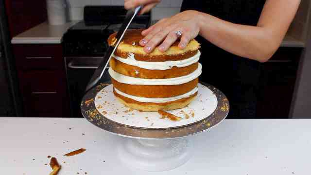 trimming pumpkin cake layers