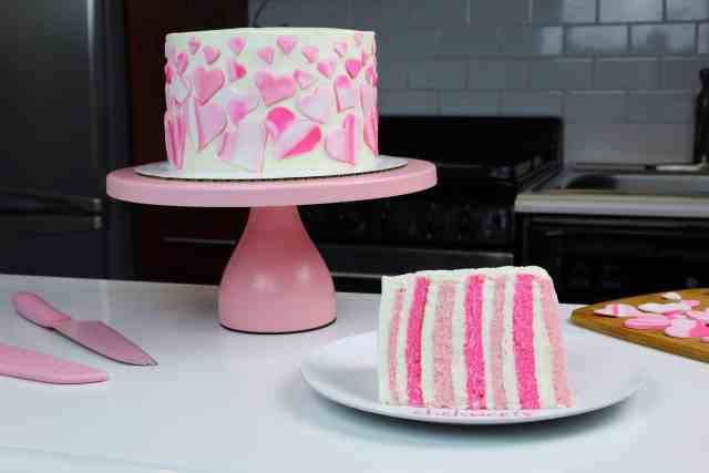 Marbled Hearts Valentine's Day Cake