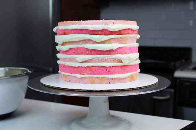 stacked valentine's day cake pink layers