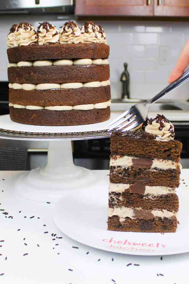 This naked chocolate cake is filled with chocolate ganache and a whipped chocolate buttercream