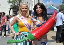 Chilli eating competition L2r Miss Cheltenham Katy Van Hemelryk with event Winner Shahina Waseem, also know as the UK Chilli Queen picture by Mikal Ludlow Photography 02-6-18 tel; 07855177205