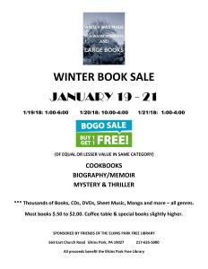 PLEASE SUPPORT JAN 2018 ELKINS PARK LIBRARY BOGO BOOK SALE