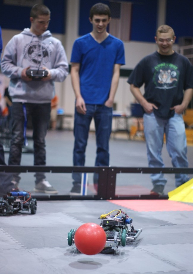 A remote controlled machine competes in the electronics competition at Chemeketa.