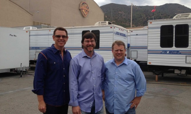 Matthew Wilson (left), an attorney and producer, Robert Richards, a co-founder, and Scott Krauger, the chief executive officer of Gemini Digital Films are at the Warner Bros. Studios for a meeting with Chris Owen, the head of reality show development for Warner Bros. Television.