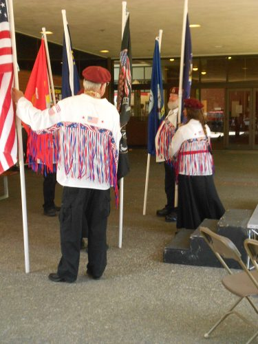 A Native American Veterans Color Guard present the flags at the Memorial Day Celebration in Chemeketa's old quad on May 22.