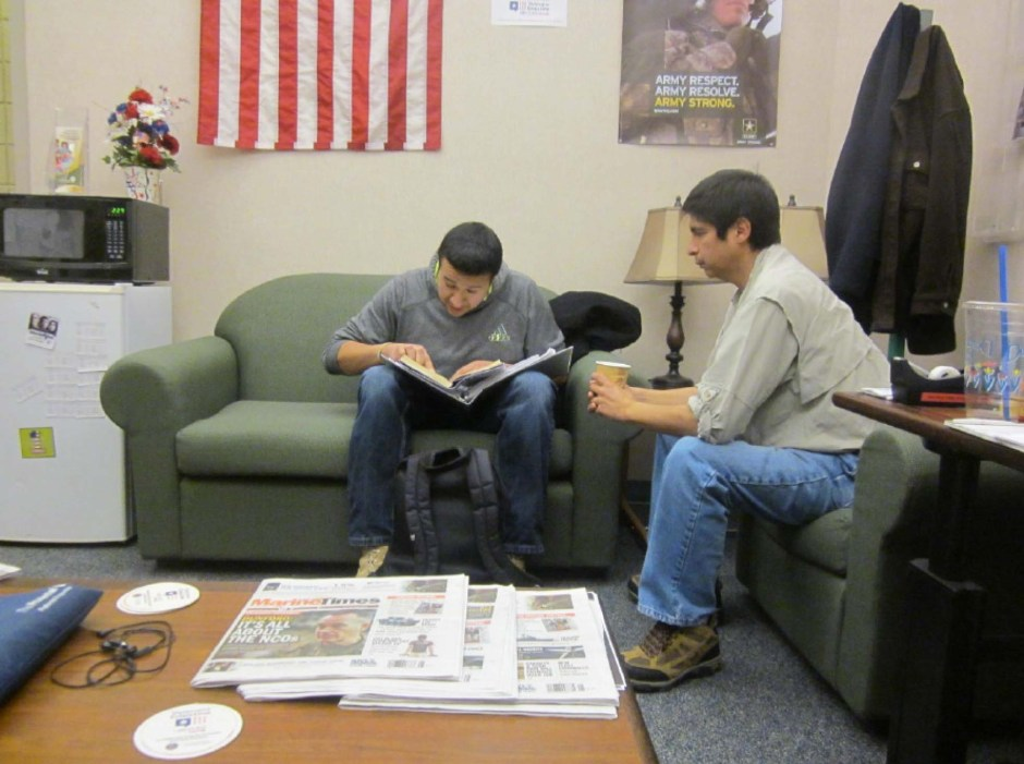 Francisco Flores (left) working with John Bella work on a class assignment.