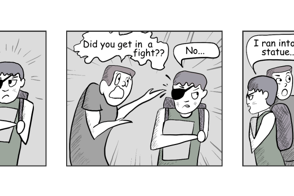 Cartoon: A student wearing an eyepatch is asked by another student if they were involved in a fight. The injured student replies no, they were injured by walking into a statue. The asking student, passing by the 'Finals Week' statue that used to be in the hall outside the Chemeketa Library, realizes which statue it was.