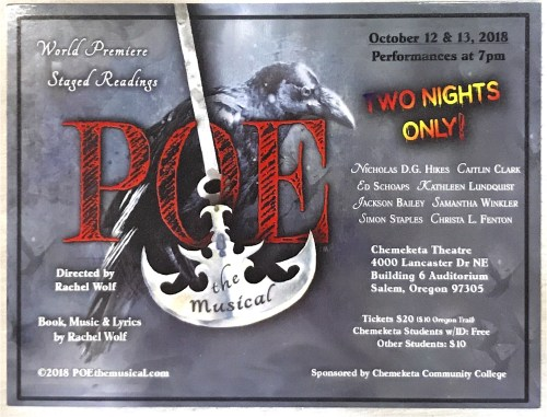 A flyer advertises POE: the Musical