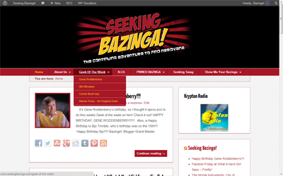 Portfolio Update: Seeking Bazinga wordpress theme