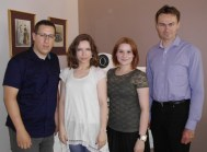 from the right to the left: Michał (son of the perfumery founder), Ania, Katarzyna (Polish skincare, make-up & perfume blogger) and me