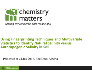 Using Fingerprinting Techniques and Multivariate Statistics to Identify Natural Salinity versus Anthropogenic Salinity in Soil