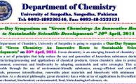 Symposium on Green Chemistry An Innovative Route to Sustainable Scientific Developments