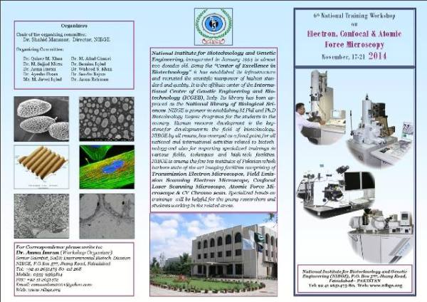6th National Training Workshop on Electron, Confocal and Atomic Force Microscopy