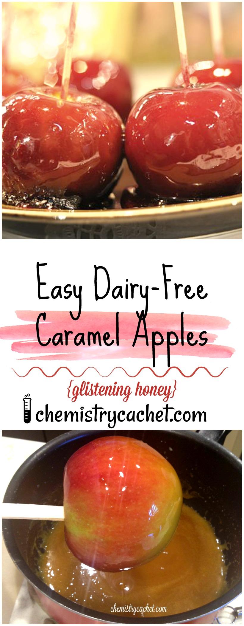 Easy Dairy-Free Caramel Apples. Glistening honey, so delicious! on chemistrycachet.com