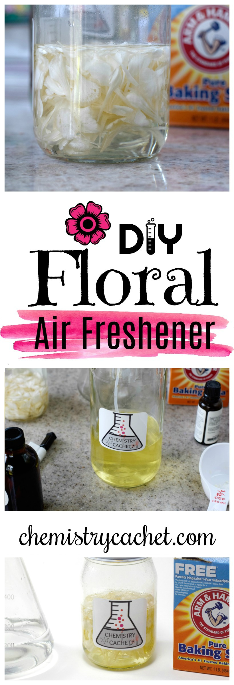 Easy DIY Floral Air Freshener with different scent options! So cheap to make too! on chemistrycachet.com