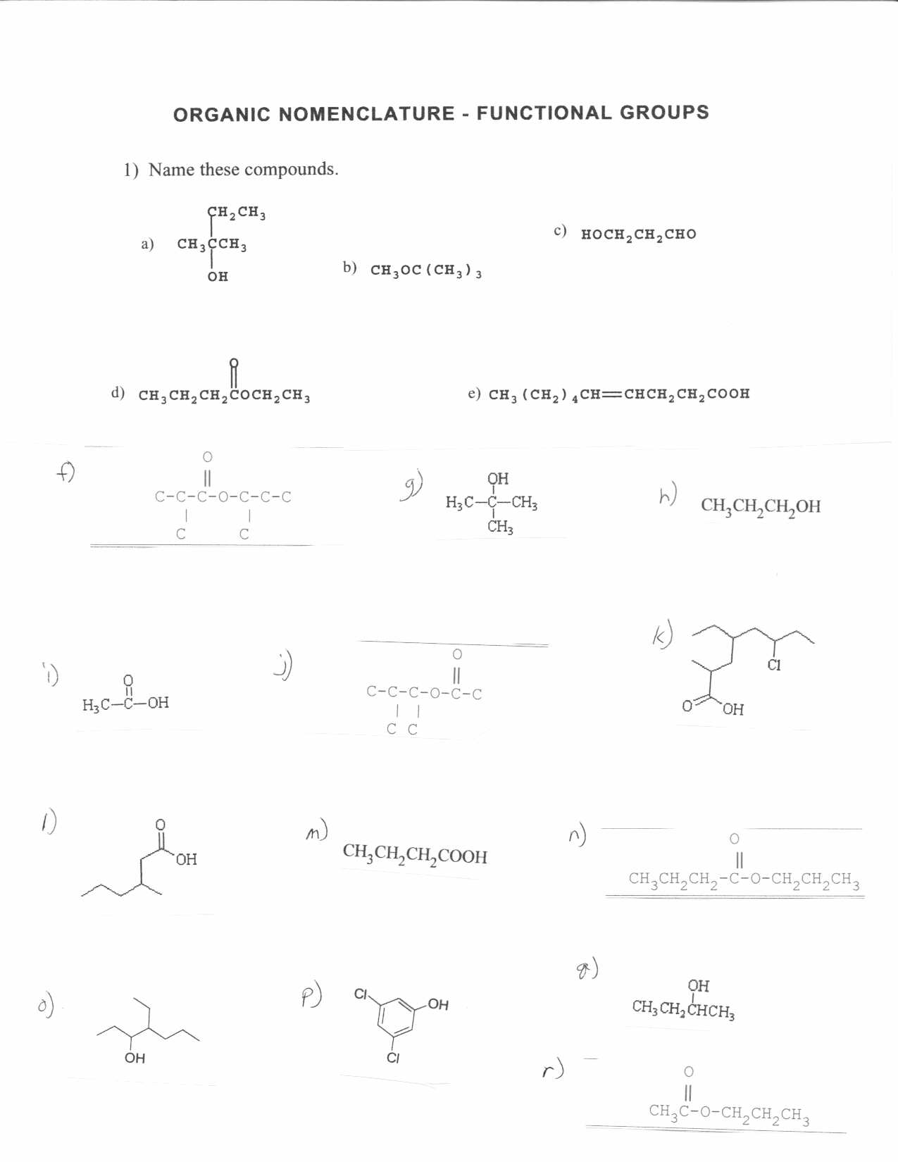 Organic Chemistry Worksheet High School
