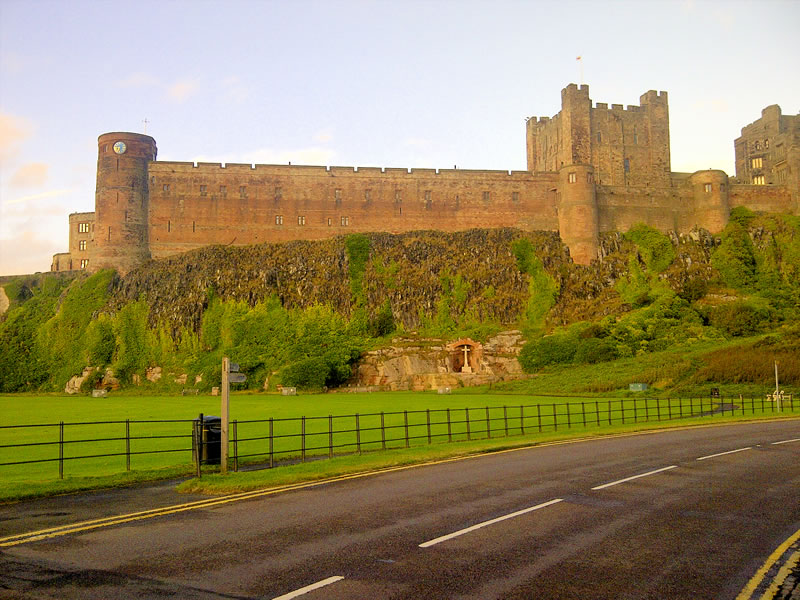 The stunning Bamburgh castle photographed near to sunset