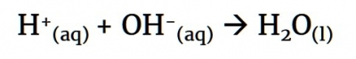 Formation of water from proton and hydroxide ion