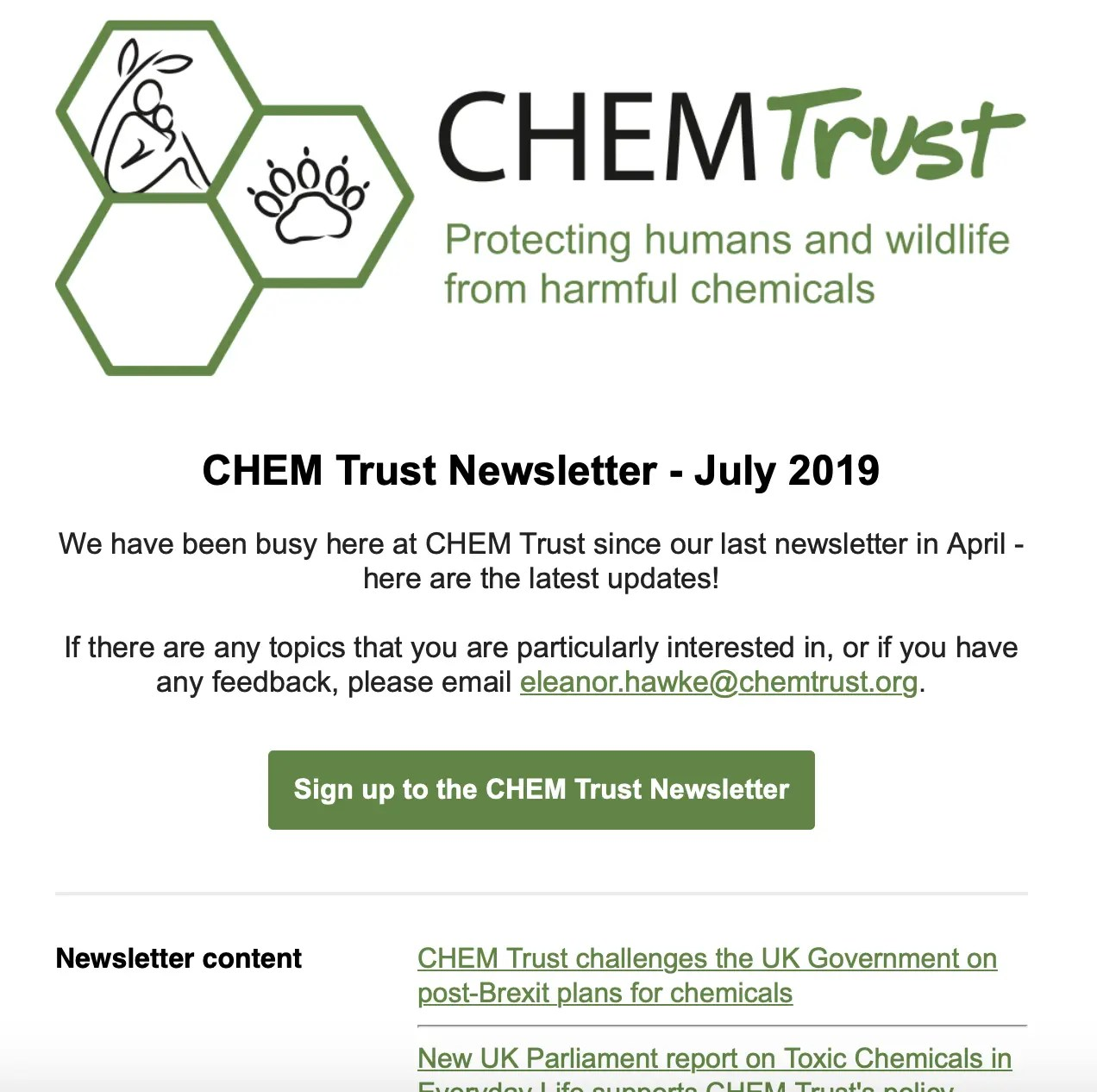 CHEM Trust — Protecting humans and wildlife from harmful