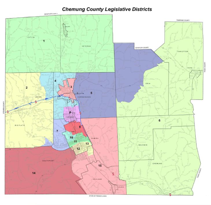 Chemung County Legislative Districts