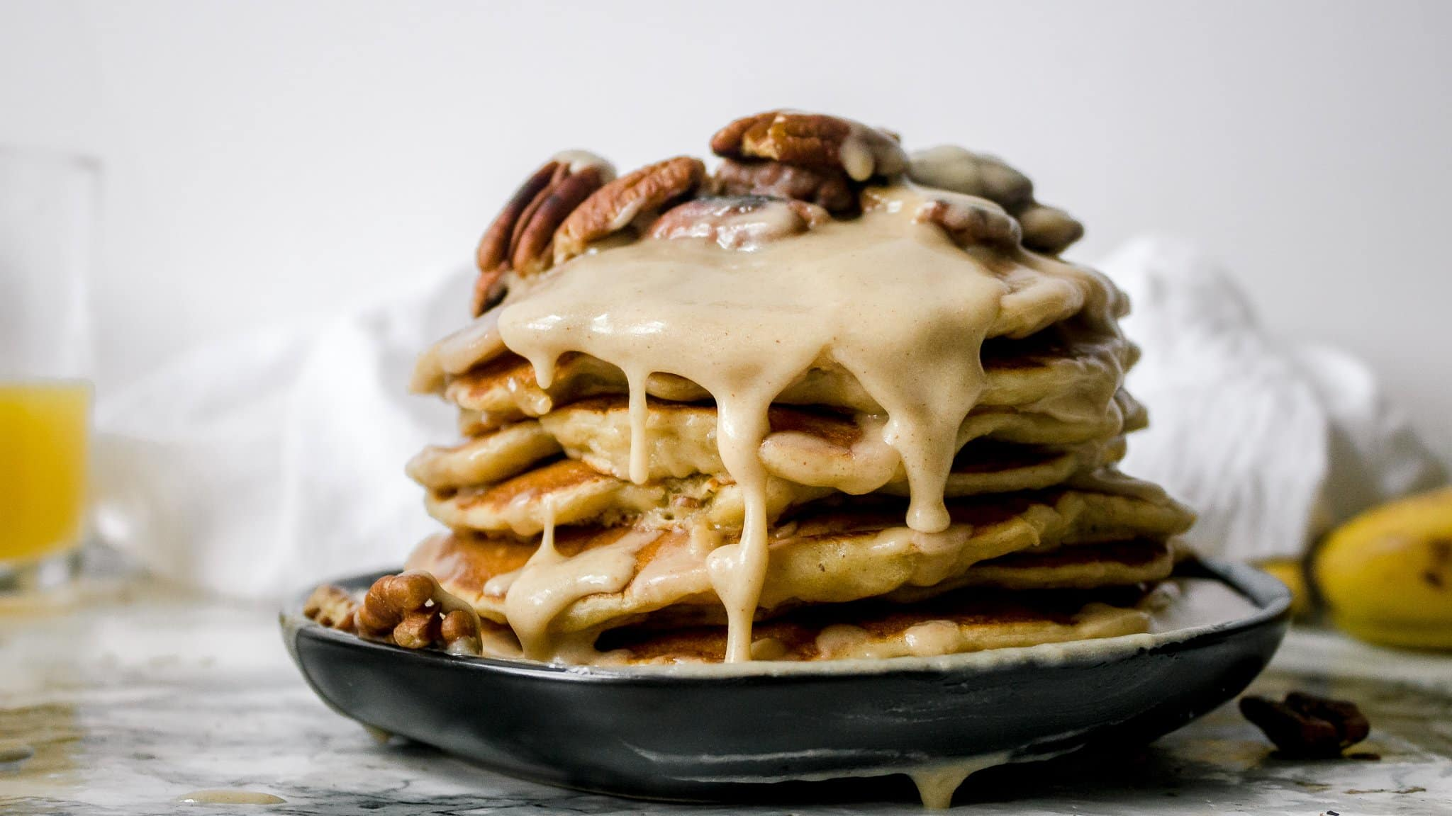 Banana Pecan Pancakes with Maple Brown Butter Glaze