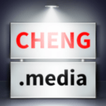 the cheng.media logo with a light on top