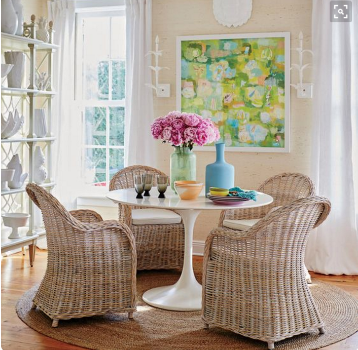 the tulip table and the wicker chair the perfect pair for spring rh chenilleandchampagne com dining room dark wicker chairs dining room rattan chairs