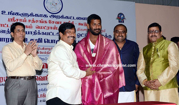 Actor Vishal - Flood Relief Materials Distributed