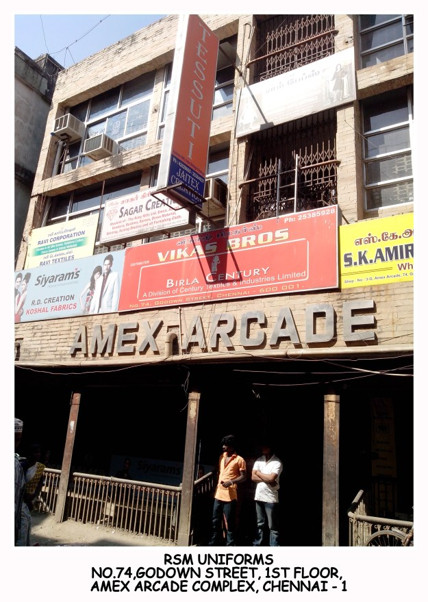 Godown street wholesalers of uniform material - Amex Arcade complex
