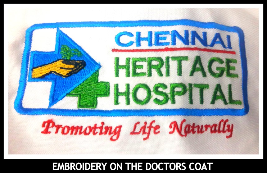 Hospital logo embroidered on Doctors coat