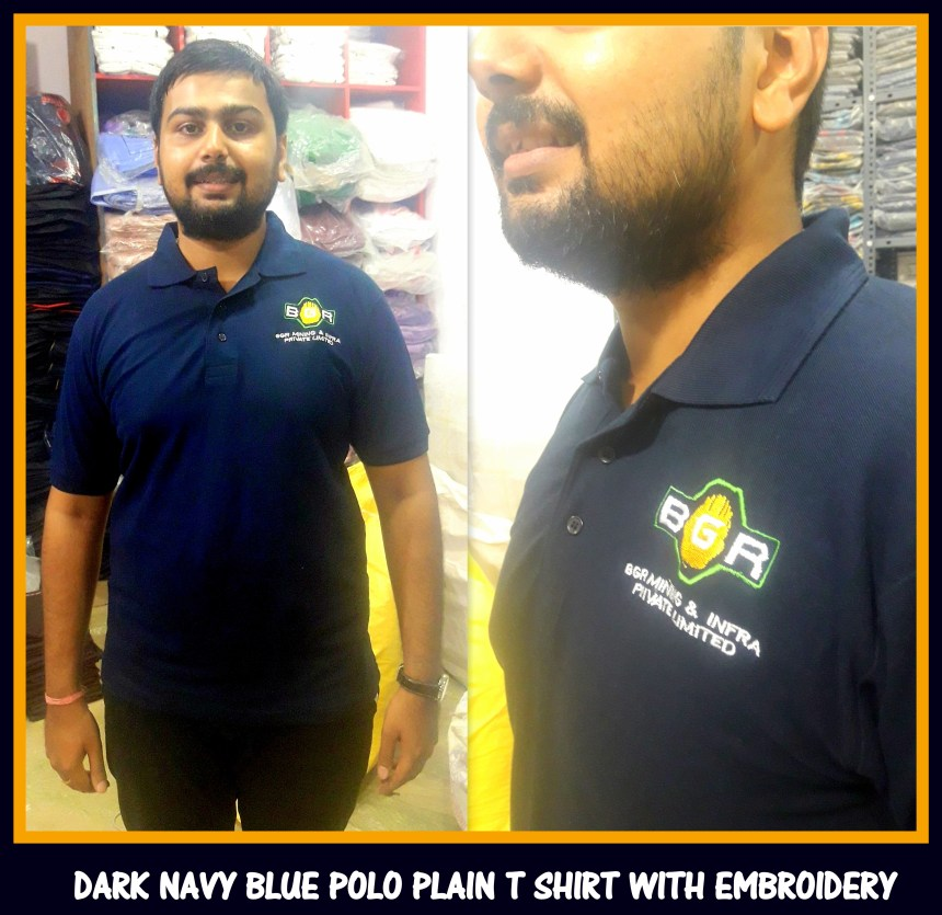 T shirt plain with embroidery