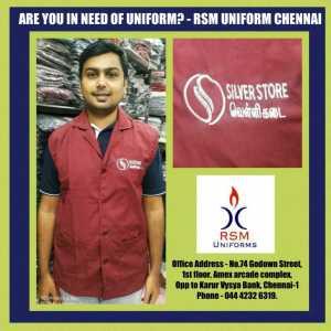 Maroon Sleeveless Overcoats for Silverstore in Chennai- Rsm Uniforms Chennai