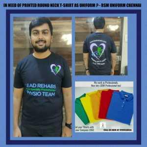 Black round neck tshirt for physiotherapist in Chennai - RSM Uniforms Chennai