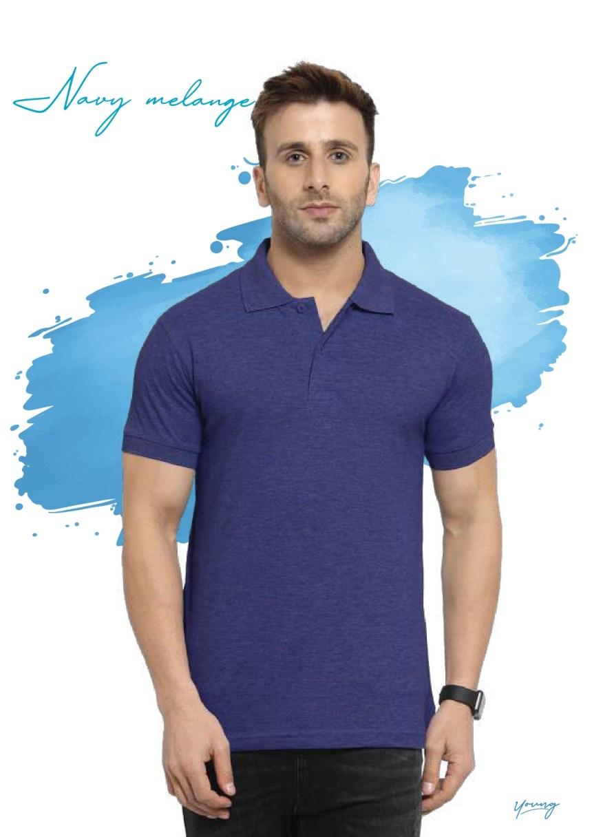 Scott young navy melange t-shirt in Chennai- Rsm Uniform Chennai