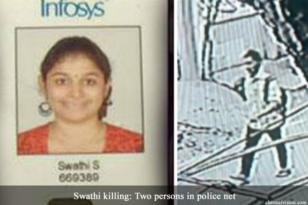 Swathi killing: Two persons in police net