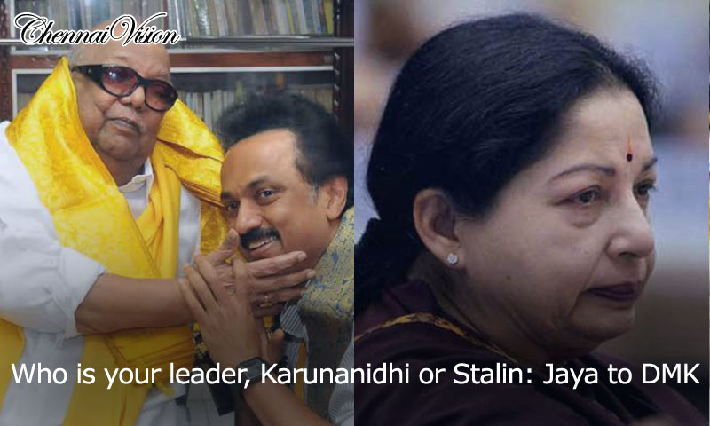 Who is your leader, Karunanidhi or Stalin: Jaya to DMK