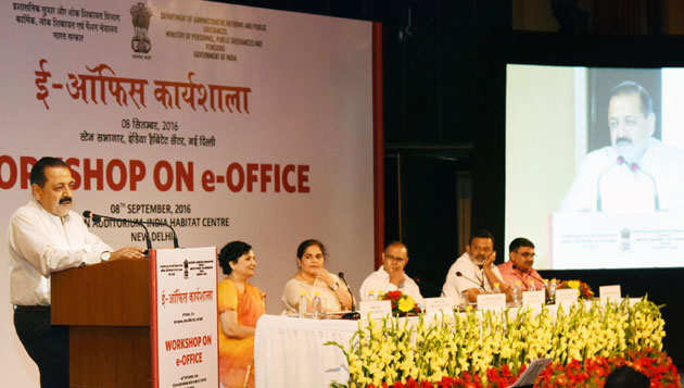 Dr Jitendra Singh addresses the workshop on e-Office organised by DARPG