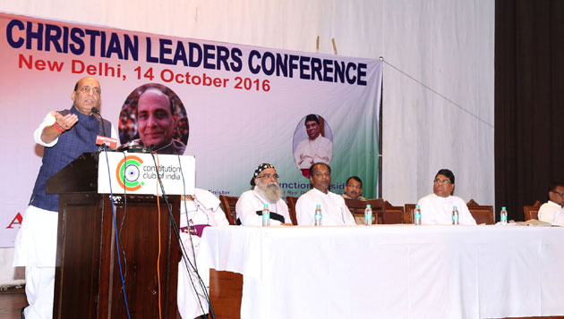 Rajnath Singh addresses the National Christian Leaders Conference