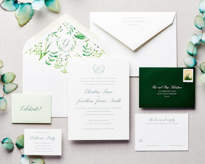 Terrace Watercolor Wedding Invitation