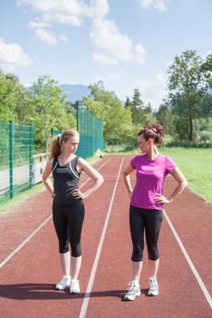 Female Track Competitors Glaring at Each Other
