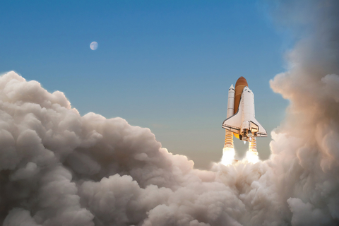 Space Shuttle starts its mission and takes off into the sky. Roc