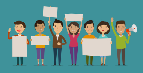 Group of people or crowd cheers carrying signs. Event, fan club, demonstration concept. Cartoon vector illustration