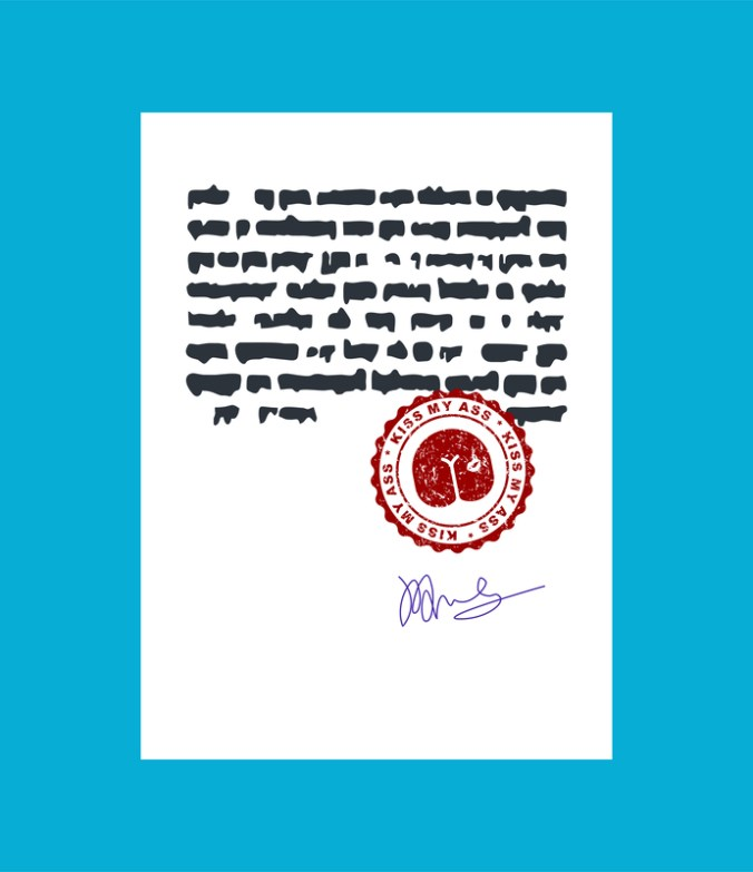 Kiss my ass. Stamp for documents. Official Boss Answer template