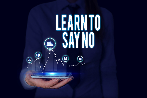 Text sign showing Learn To Say No. Conceptual photo decline or refuse few things before you destroy yourself Woman wear formal work suit presenting presentation using smart device.