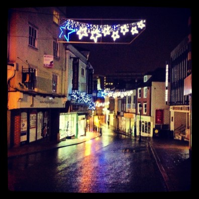 Empty street at night in Maidstone, Kent.