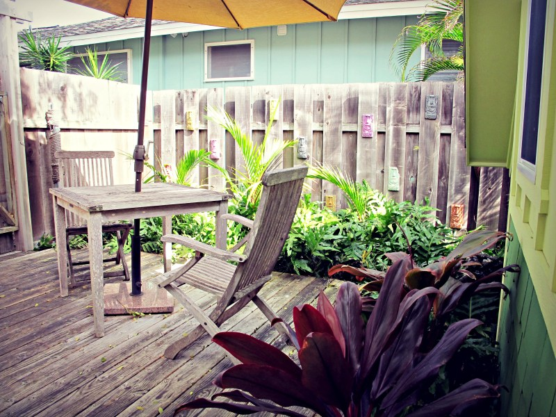 The patio between the entrance and the Coconut.