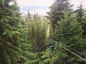 Ziplining upside down in Whistler, British Columbia.