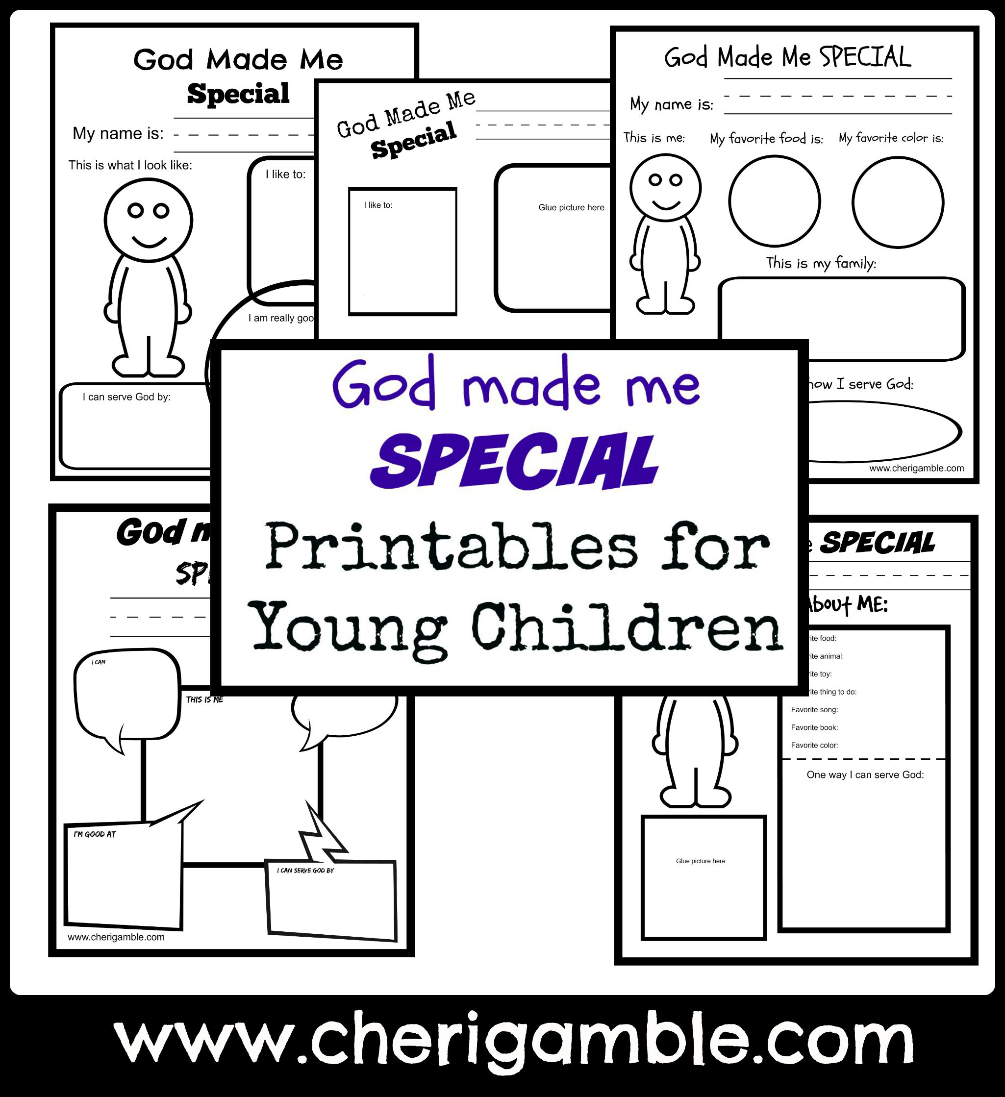 God Made Me Special Printables For Young Children Cheri