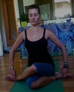 Gomukhasana: Cow Face Pose.